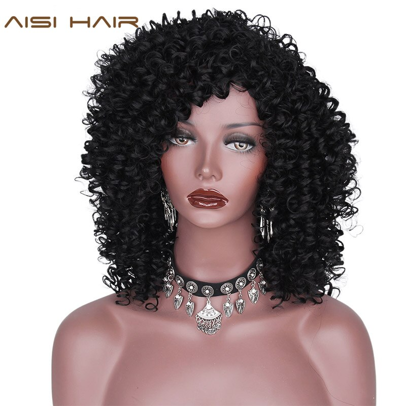 AISI HAIR Synthetic Afro Kinky Curly Wigs for Women Black hair African American Heat Resistant Long Hair