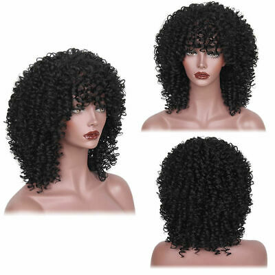 Black Long Curly Afro African American Wigs Synthetic Wig Hair for Sex Women Cos