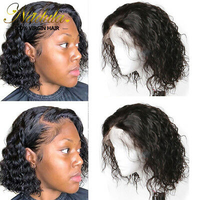 Peruvian Human Hair Water Wave Bob Wig Lace Front Wigs For Black Women 8inch US