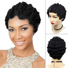 Short Black Afro Curly Hair Wigs Pexie Cut Wave Wig For Black Women African Lady