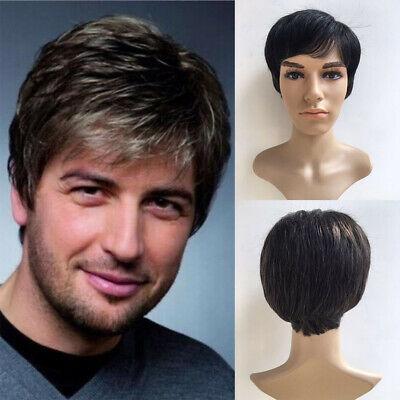 Short Black Gray Wigs For Men Short Wavy Hair Mens Fashion Wig Toupee Male Wig