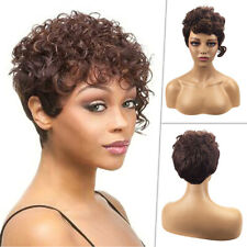 Short Curly Wigs Brown Full Hair Pexie Wig For Black Women African Lady Party