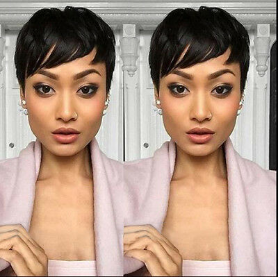 Short Human Hair Wigs Pixie Cut BLACK For Women Glueless African American US