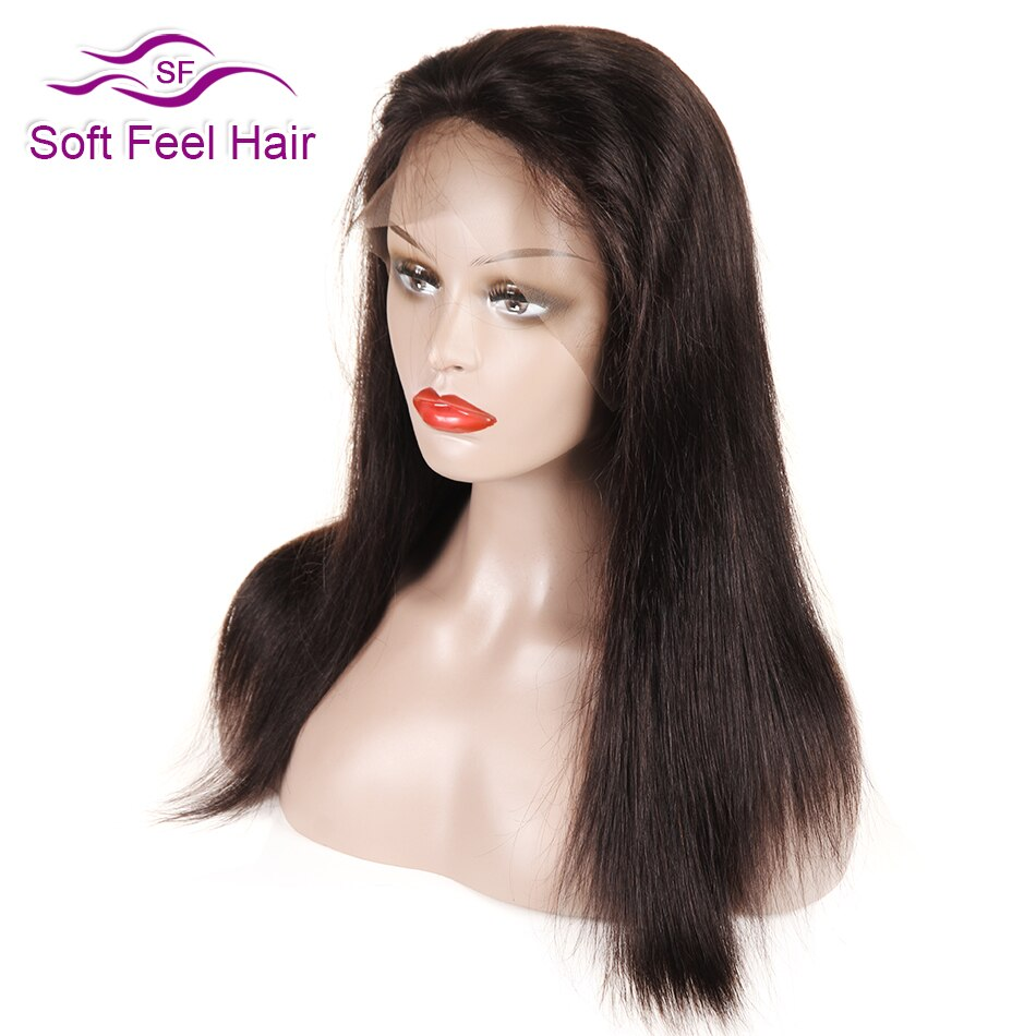 Soft Feel Hair Black Full Lace Human Hair Wigs For Women Remy Brazilian Straight Pre Plucked Lace Wig With Baby Hair 12-18 Inch