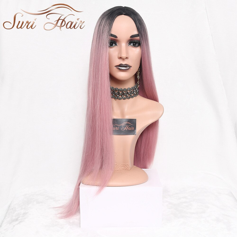 Suri Hair Long Straight Ombre Pink Heat Resistant Synthetic Two Tone Wigs For Women 30 inch Black Brown Blue hairpiece 7 colors