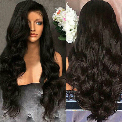 US Women Fashion Human Hair Lace Front Wig Body Wavy Full Wigs Natural Black