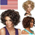 US Women Short Black Curly Wigs For Women African Lady Afro Full Curly Wig Gift