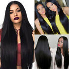 USA Long Straight Black Synthetic Wig Heat Resistant Straight Hair Women's Wigs
