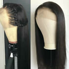 100% Real Hair Black Straight Middle Part Human Hair Wigs US Shipping Fast