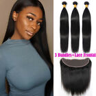 7A 300g Peruvian Virgin Human Hair Weave 3Bundles with 13x4 Lace Frontal Closure