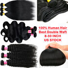 8-30inch LONG Brazilian Virgin Human Hair Body Wave/Straight/Curly 1/3/4 Bundles