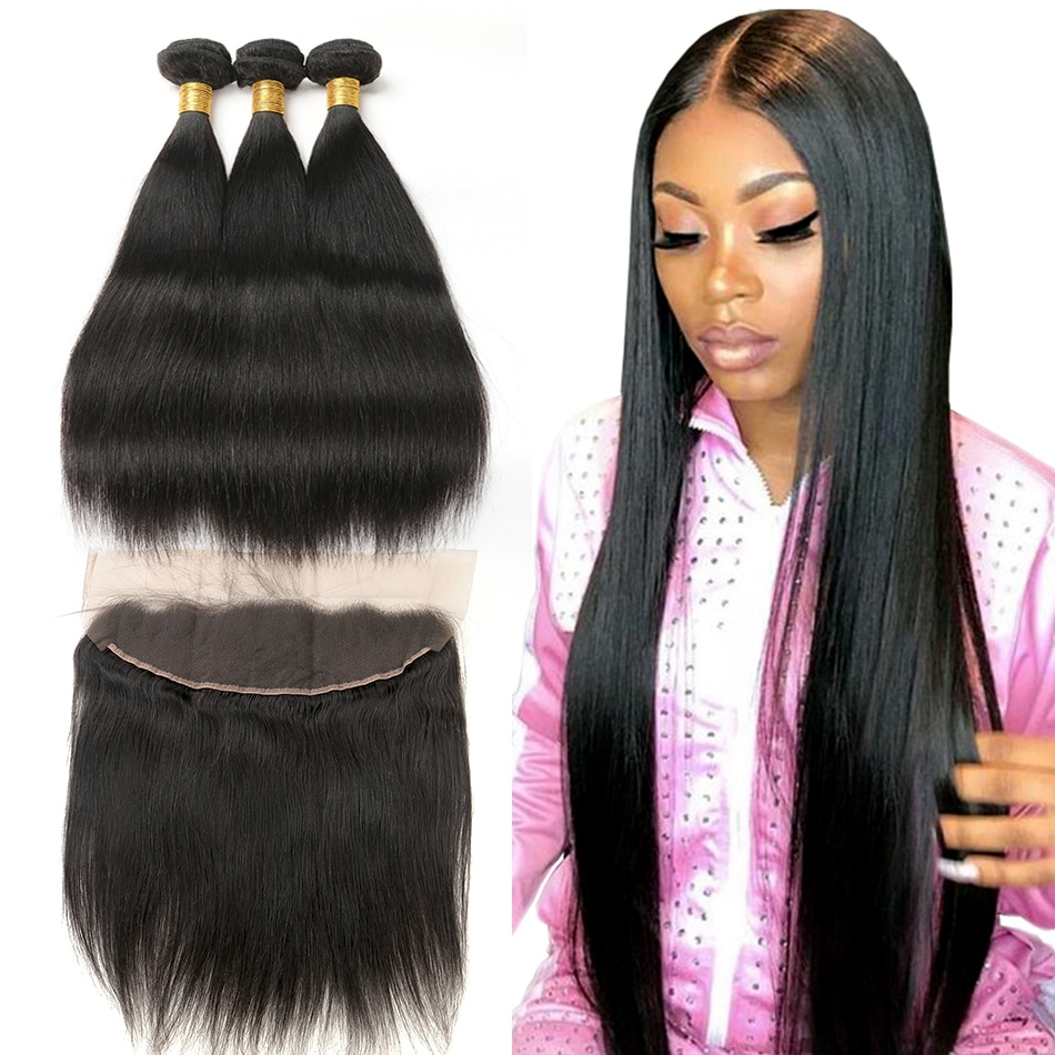 Brazilian Hair Weave 100% Human Hair Bundles With Lace Closure Frontal Remy Straight Hair Lace Closure With Hair Extensions 1B#