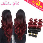 Brazilian Human Hair 1/3 Bundles Extensions Weave Weft Body Wave Ombre Burgundy