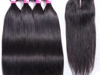 Brazilian Hair Bundles With Closure Straight 19