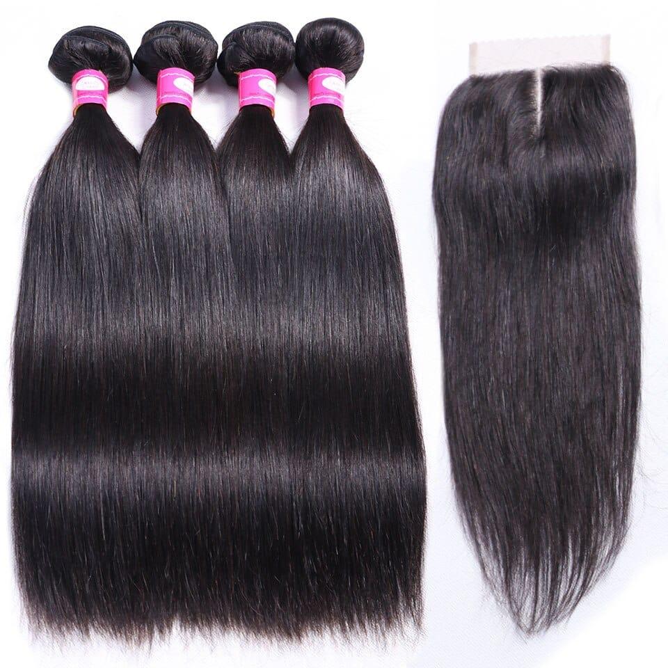 Brazilian Hair Bundles With Closure Straight 1