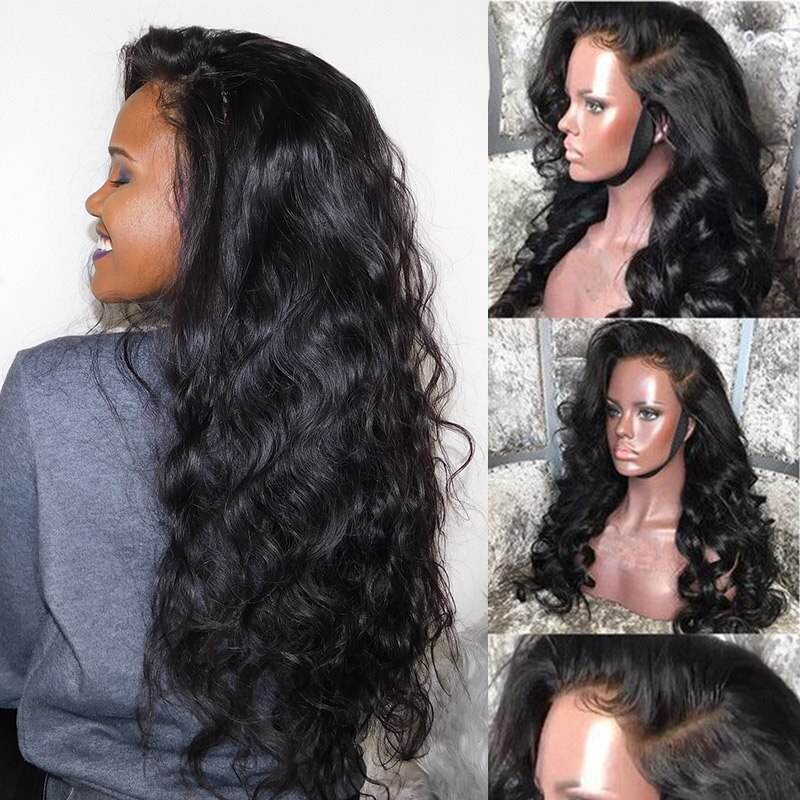 Glueless 250 Density Lace Front Human Hair Wigs For Women Brazilian Body Wave Lace Front Closure Wigs Black Ever Beauty Full End