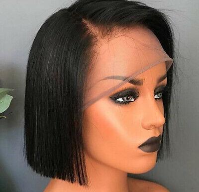 Indian Real Hair Wig Short Bob Straight Wig Lace Front Human Hair Wigs Black US
