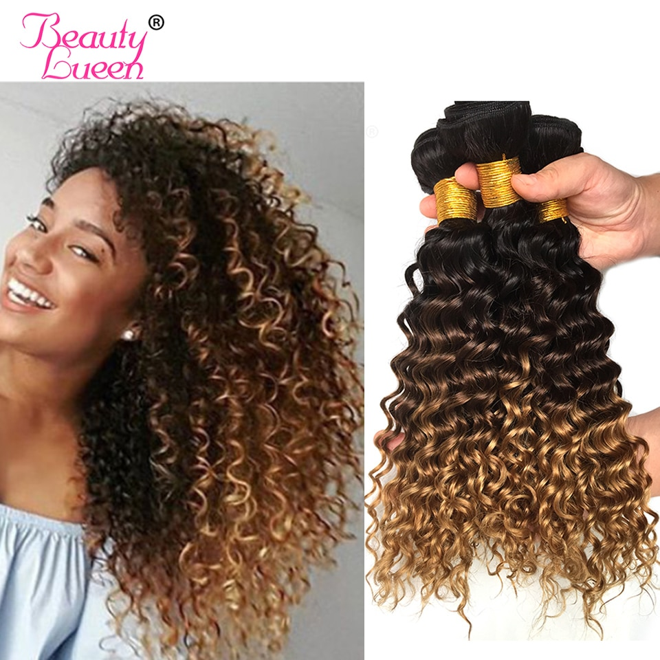 Ombre Deep Wave Brazilian Hair Weave Bundles T1B/4/27 Human Hair Three Tone Ombre Blonde Hair 1Pc Can Buy 3 Or 4 Bundles Remy