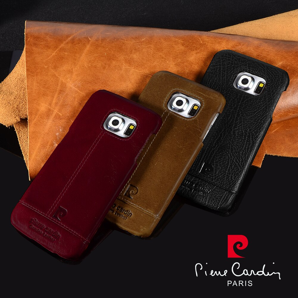 Pierre Cardin Genuine Leather Luxury Cell Phones Case For Samsung Galaxy S10 S8 S9 Plus S7 edge Back Cover