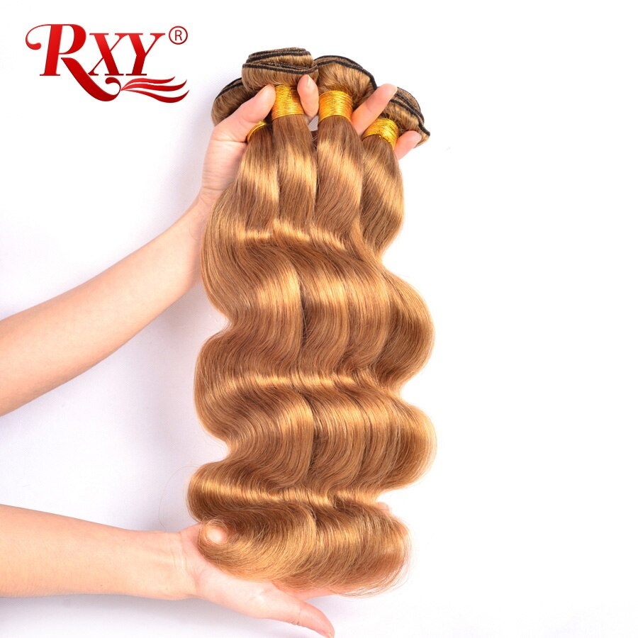 RXY Honey Blonde Brazilian Hair Weave Bundles Body Wave 1/3/4pcs #27 Color 100% Human Hair Bundles NonRemy Hair Weaves Extension