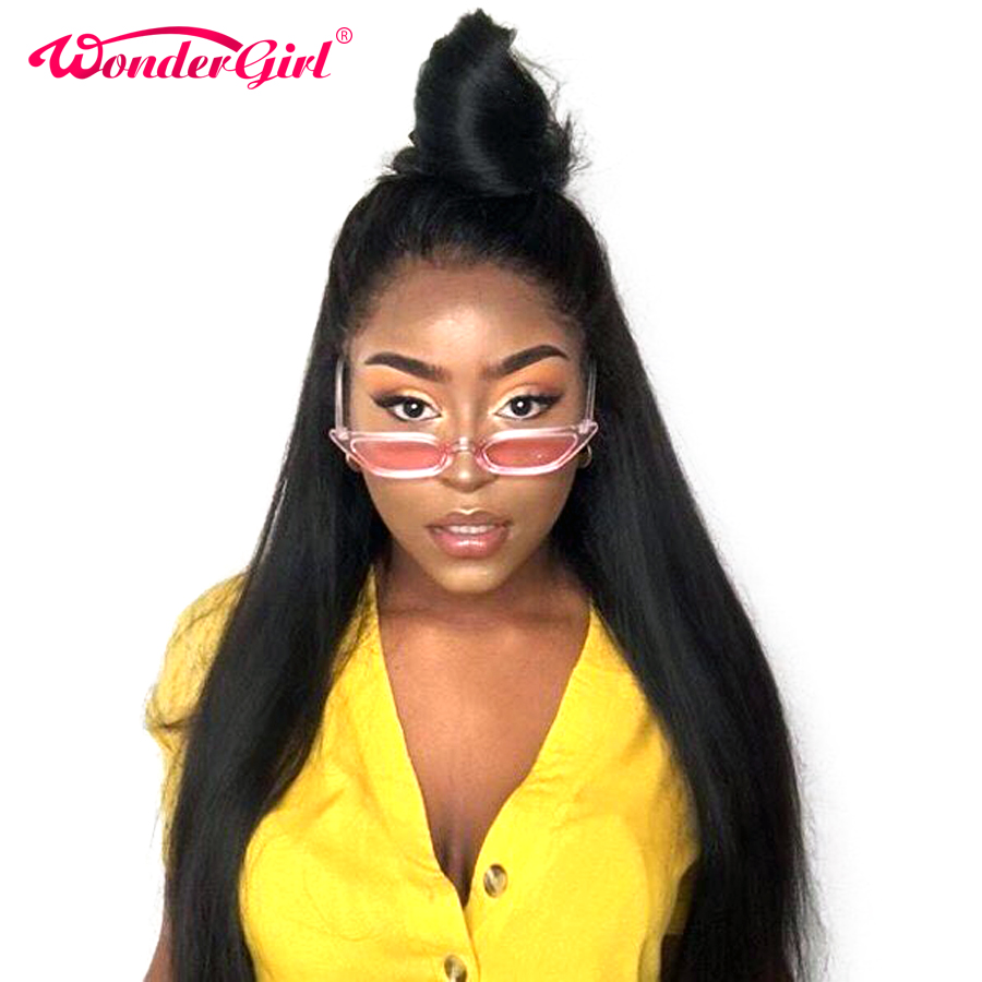 Wonder girl 250% Density Remy 360 Lace Frontal Wig Pre Plucked With Baby Hair Brazilian Straight Lace Front Human Hair Wigs