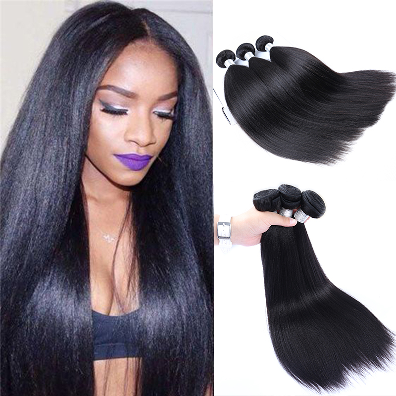 Yaki Human Hair Brazilian Hair Weave Bundles 3 Light Yaki Straight Hair Extensions 1 Piece Dolago Virgin Human Hair Products