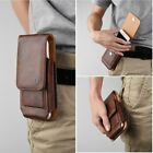 For Smart Phone Vertical Leather Belt Case w/ Rotatable Clip Holster Pouch Brown