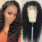 Hot Deep Wave Curly Lace Front Wig 100% Brazilian Human Hair Wig Black Women K7P