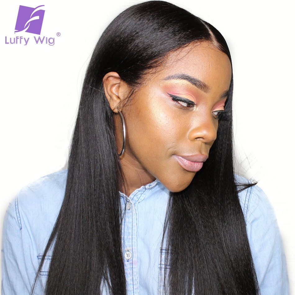 Luffy 13x6 Deep Yaki Straight Lace Front Human Wigs With Baby Hair Pre Plucked Glueless Frontal Wig For Women Brazilian Non Remy