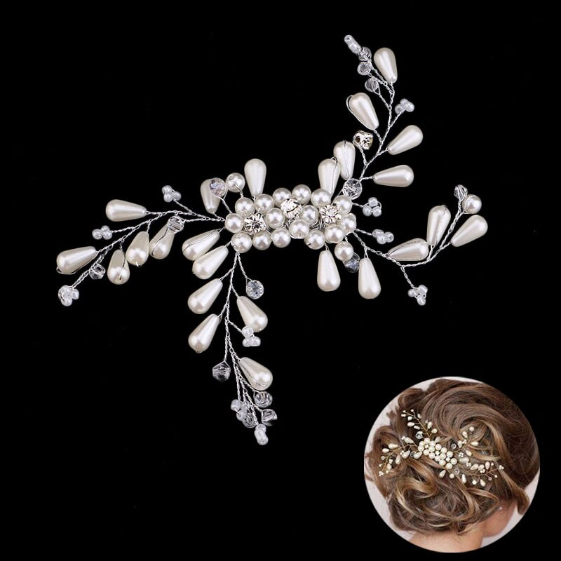New Hair Accessories For Women Crystal Pearl Floral Hair Combs Bridal Tiaras Wedding Noiva HairPin Headdress Barrettes Jewelry