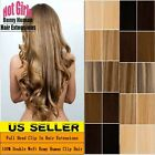 Real THICK 160g++ Double Weft Clip In Remy Human Hair Extensions Full Head XL462