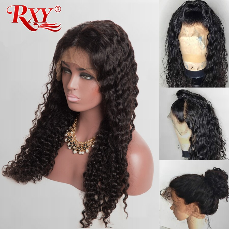 RXY Deep Wave Wig Glueless Lace Front Human Hair Wigs For Black Women Pre Plucked With Baby Hair Curly Lace Front Wig Remy Hair