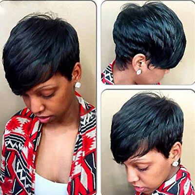 Wig for Women Cut Short Brazilian Human Hair Wig Natural Straight Weave US Stock