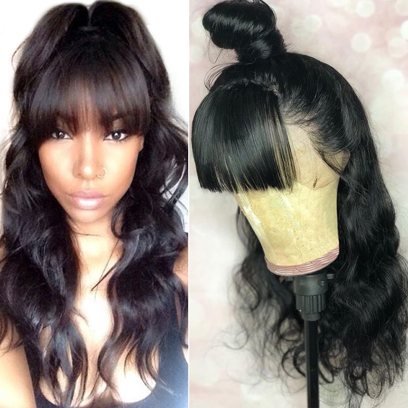 360 Lace Frontal Wig With Bangs Body Wave 250 Density 13x6 Lace Front Human Hair Wigs Pre Plucked With Baby Hair 370 Dolago Remy