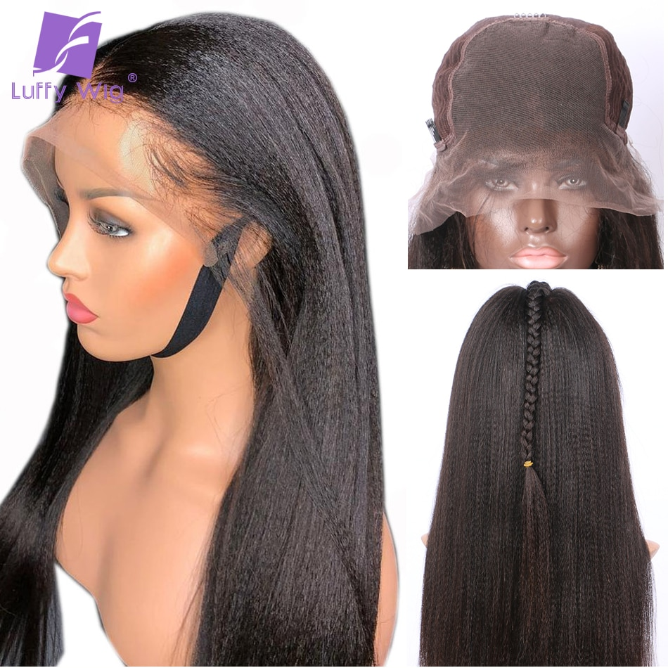 Luffy Yaki Straight Lace Wig Pre Plucked 13x6 Deep Part Lace Front Human Hair Wigs Brazilian Remy with Baby Hair Bleached Knots