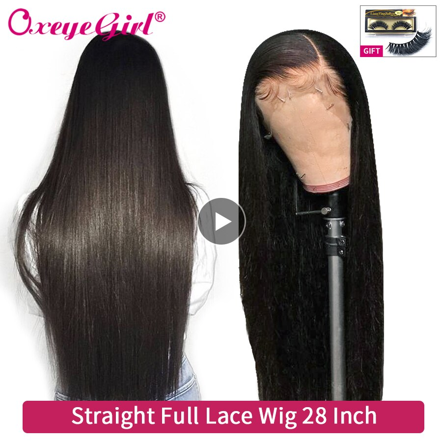 Oxeye girl Glueless Full Lace Human Hair Wigs With Baby Hair Pre Plucked Soft Brazilian Hair Straight Wigs For Women Remy Hair
