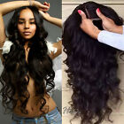 Real Brazilian Virgin Human Hair Full Front Lace Wigs Natural Black Wave Curly #