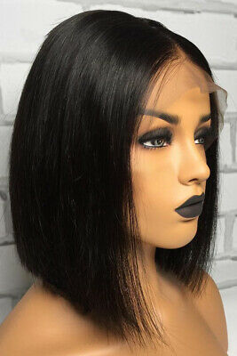 Short Bob Black Glueless Lace Front Wig Brazilian Human Hair Wigs Pre-Plucked US