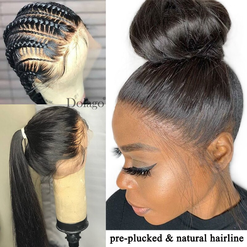 Straight Glueless Full Lace Human Hair Wigs 250 Density HD Transparent Brazilian Lace Wig Pre Plucked With Baby Hair Dolago Remy