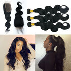 3 Bundles with Closure Unprocessed Brazilian Virgin Human Hair Weave Body Wave