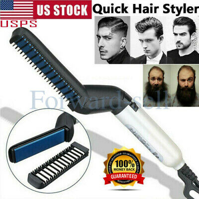 Hair Straightener Brush Quick Beard Comb Curling Curler Show Cap Heat Styling US