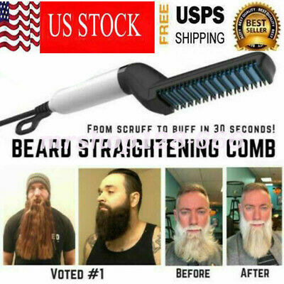 Multifunctional Quick Beard Straightener Hair Brush Comb Curling Curler For Men