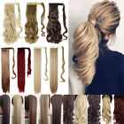 Hair ponytail Clip In as Real Human Hair Extensions Wrap Around Pony Tail US