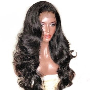 250 Density 13X6 Lace Front Human Hair Wigs With Bangs For Women Black Body Wave Lace Wig Brazilian Lace Front Wig Remy Prosa
