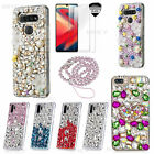 5 in 1 Bling Soft Phone Cases With Glass Screen Protector & Lanyard For Alcatel2