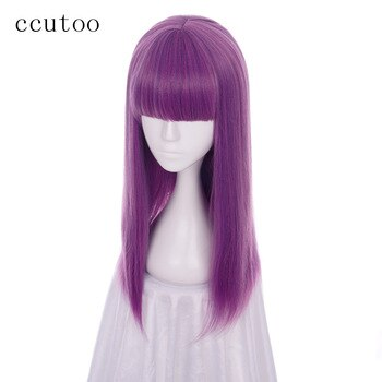 ccutoo Descendants 2 Mal 60cm Purple Mix Straight Flat Bangs Synthetic Cosplay Wig Womens Halloween Party Wigs