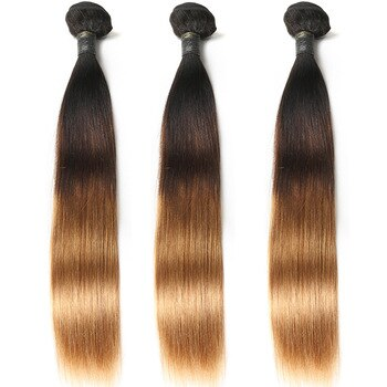 Ombre Hair Straight Hair Bundles T1B/4/30 Brown Honey Blonde 100% Human Hair Weave Extension Peruvian Remy Hair Weft 10-26inch