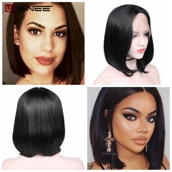 Wignee Middle Part Lace Front Bob Wig Synthetic Hair Wigs For Women Natural Black Straight Hair Heat Resistant Fake 3 Combs Wig