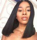 Straight Black Bob Short Wigs Glueless Lace Front Wigs Brazilian Human Hair Wigs